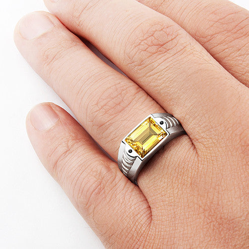 Citrine Men's Ring in 925 Sterling Silver with Black Onyx Accents - J  F  M