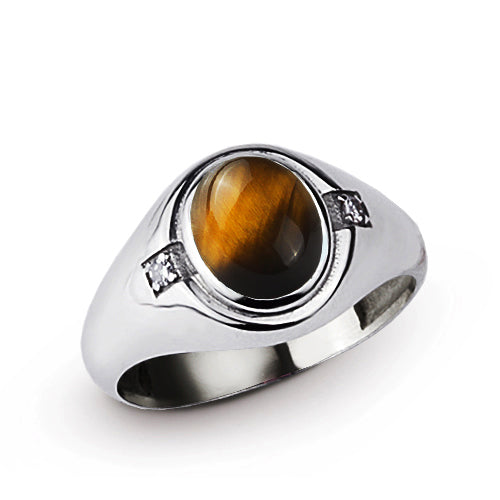 Classic Red Brown Tiger's Eye Ring with 2 DIAMOND Accents in Real 925 Sterling Silver