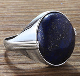 Men's Ring 925 Sterling Silver with Natural Blue Lapis Gemstone - J  F  M