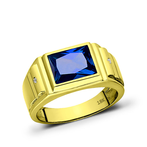 Solid 18K Yellow Gold Blue Sapphire Mens Ring 2 Diamond Accents Artistic Jewelry