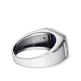 Blue Sapphire Birthstone 2 Diamonds Wedding Engagement Real 925 Silver Band Ring