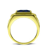Gold Plated Silver Mens Blue Sapphire Ring with 2 Real Diamonds Artisan Crafted