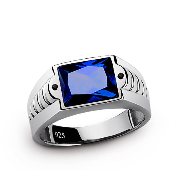Sapphire Men's Ring with Black Onyx Accents in 925 Sterling Silver - J  F  M
