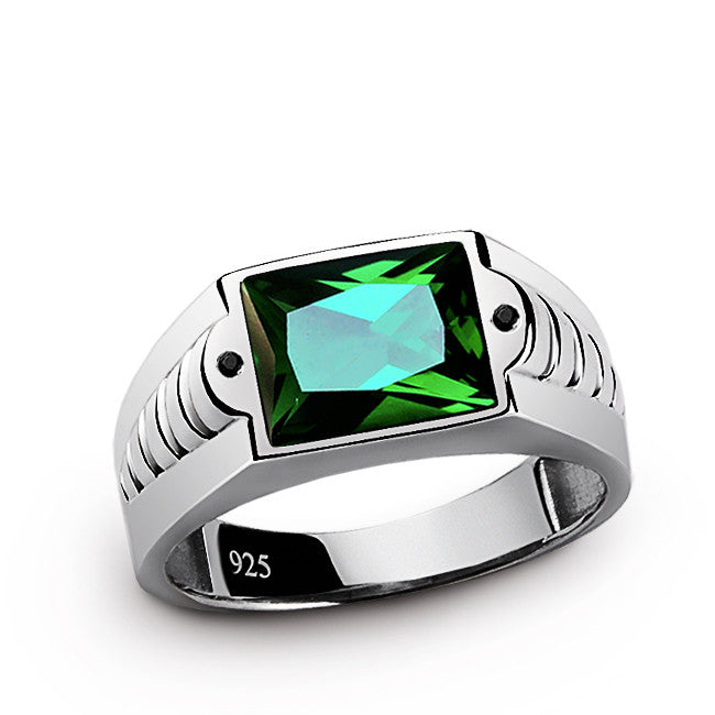 925 sterling silver men 39 s emerald ring with black onyx. Black Bedroom Furniture Sets. Home Design Ideas