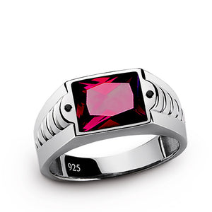 925 Sterling Silver Men's Ring with Red Ruby and Black Onyx Accents - J  F  M