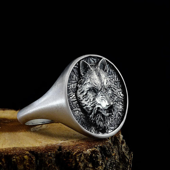 3D Wolf Head Handmade Signet Oxidized 925 Sterling Silver Ring For Men