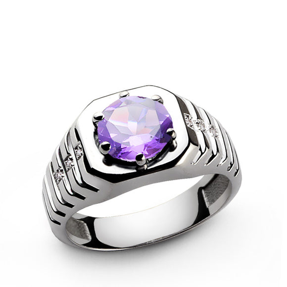 Amethyst Gemstone and Diamonds Men's Ring in 925 Sterling Silver - J  F  M