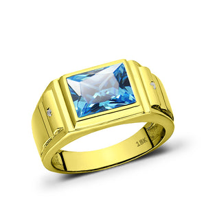 Mens Solid 18K Gold Blue Topaz Gemstone Ring 2 Natural Diamond Accents All Sizes