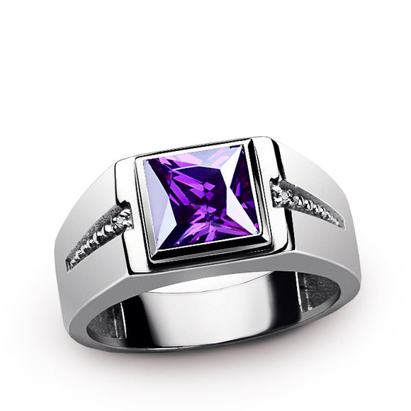 Men's Ring 925 Sterling Silver with Natural Diamonds and Purple Amethyst - J  F  M