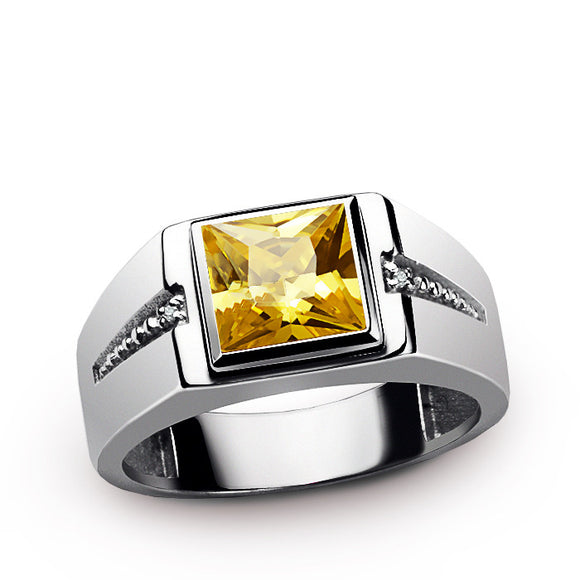 Classic Men's Ring with Yellow Citrine and Natural Diamonds in 925 Sterling Silver - J  F  M