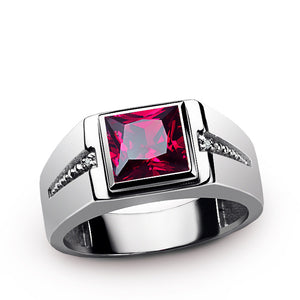 Red Ruby Men's Ring with Natural Diamonds in 925 Sterling Silver - J  F  M