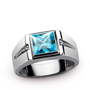 Statement Men's Ring in Sterling Silver with Natural Diamonds and Blue Topaz Gemstone - J  F  M