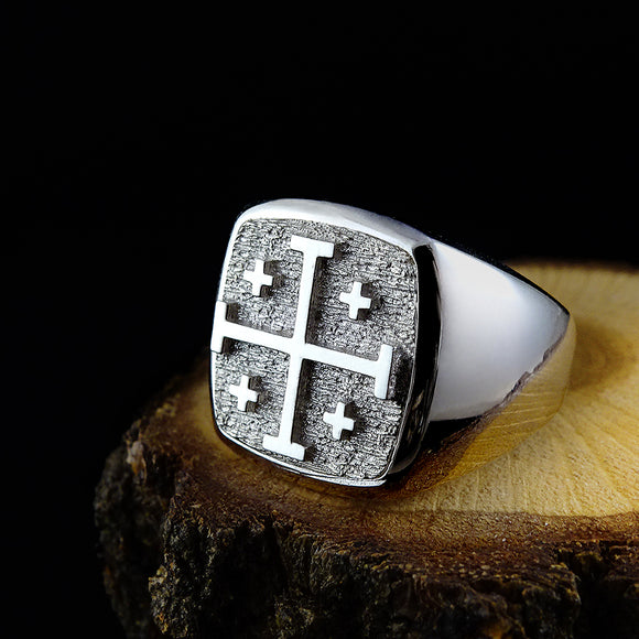 Sterling Silver 925 Jerusalem Cross Crusader Knights Templar Ring