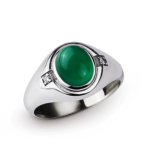 Classic Green Agate Mens Ring with 2 DIAMOND Accents in Real 925 Sterling Silver
