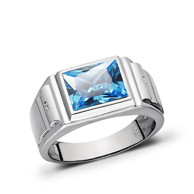 Rectangular Blue Topaz 925 Solid Sterling Silver Mens Ring with 2 Diamond All Sz