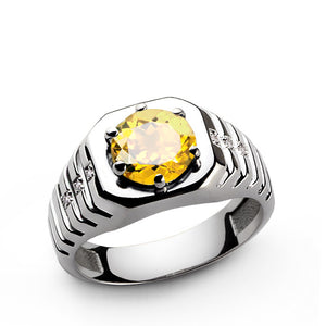 Yellow Citrine Gemstone and Diamonds Men's Ring in 925 Sterling Silver - J  F  M
