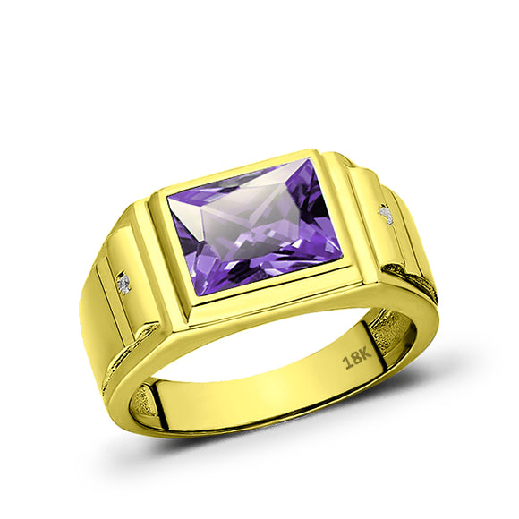 Solid 18K Gold Purple Amethyst Mens Ring 2 Natural Diamonds Fine Ring for Man