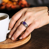 NEW Real Solid 14K White Gold Amethyst Mens Ring 2 Natural Diamonds Ring for Men