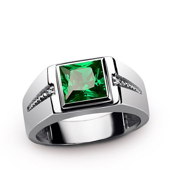 Men's Ring Sterling Silver with Green Emerald Gemstone and Natural Diamonds - J  F  M