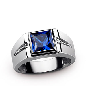 Sterling Silver Men's Ring with Blue Sapphire and Natural Diamonds - J  F  M