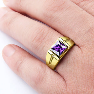 10K Gold Men's Gemstone Ring with Purple Amethyst and Natural Diamonds - J  F  M
