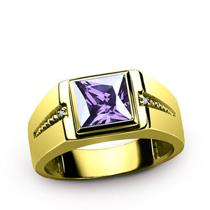Men's Ring 14K Gold with Genuine Diamonds and Purple Amethyst, Men's Gemstone Ring - J  F  M