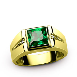 Men's Diamond Ring 14K Yellow Gold with Green Emerald Gemstone, Genuine Diamonds Ring for Men - J  F  M