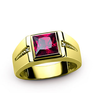 Men's Ring Red Ruby with Natural Diamonds in 10K Yellow Gold, Statement Ring for Men - J  F  M