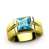 10K Yellow Gold Men's Ring with Blue Topaz and Genuine Diamonds Gemstone Ring for Men - J  F  M