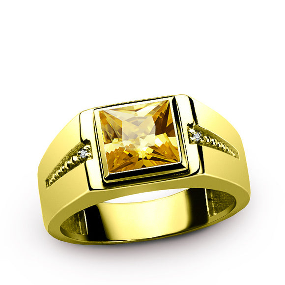 10K Yellow Gold Men's Ring with Natural Diamonds and Yellow Citrine Gemstone, Men's Statement Ring - J  F  M