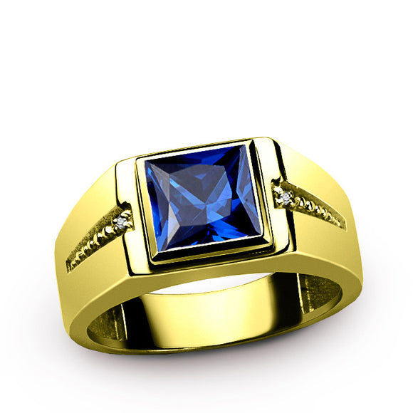 Men's Ring 14K Yellow Gold with Sapphire and Natural Diamonds, Men's Gemstone Ring - J  F  M
