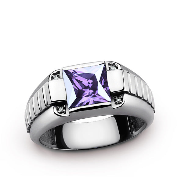 Natural Diamonds Men's Ring in 925 Sterling Silver with Purple Amethyst - J  F  M