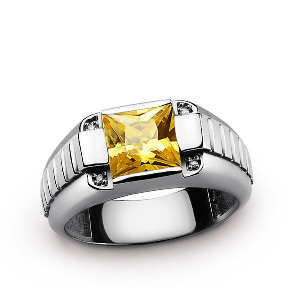 Men's Ring with Yellow Citrine and Diamonds in 925 Sterling Silver - J  F  M