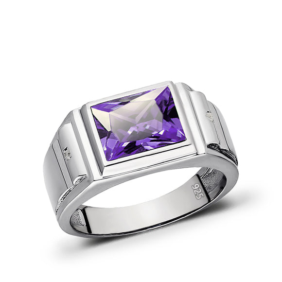 Diamond Jewelry Purple Amethyst Sterling 925 Silver Wedding Engagement Fine Ring