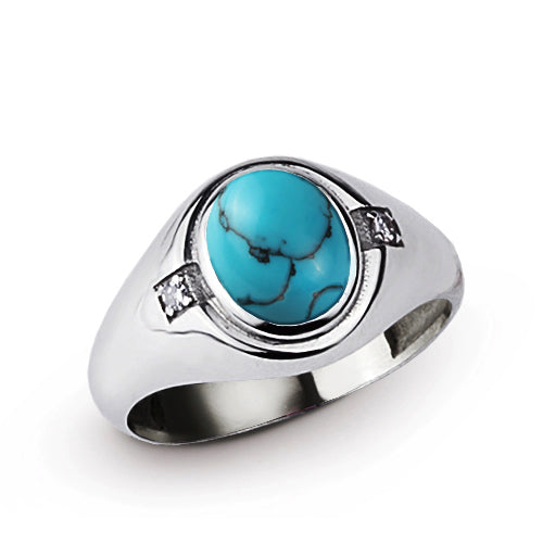 Classic Blue Turquoise Mens Ring with 2 DIAMOND Accents in Real 925 Sterling Silver