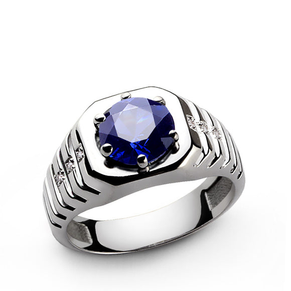 Men's Ring Sterling Silver with Blue Sapphire and Natural Diamonds - J  F  M