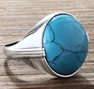 Men's Ring 925 Sterling Silver with Blue Turquoise, Natural Stone Statement Ring for Men - J  F  M