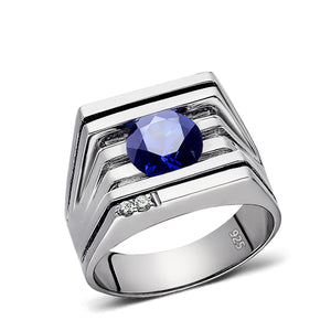 NEW Mens Ring Blue Sapphire GEMSTONE and 2 DIAMONDS in Solid 925 Sterling Silver