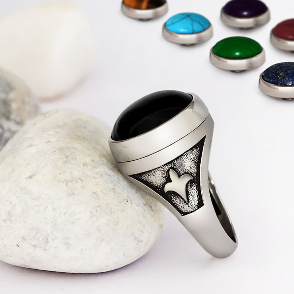 Gemstone Changeable Jewelry Men's Silver Ring with 10 Stones Cabochon - J  F  M
