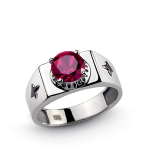 Men's Sterling Silver Ring with Red Ruby Gemstone - J  F  M
