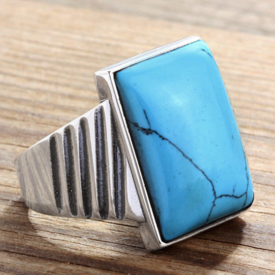 Turquoise Men's Ring in 925 Sterling Silver, Statement Ring with Natural Blue Stone - J  F  M