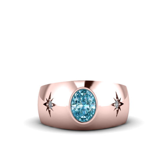 Men's Diamond Ring Rose Gold-Plated Silver with Aquamarine Gemstone Engagement Ring