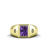Handmade Men's Ring with 2.40ctw Amethyst Gemstone and Diamonds in Gold-Plated Silver