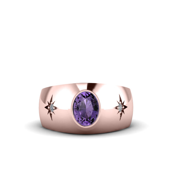 Male Wedding Ring in SOLID 14K Rose Gold Oval Cut Amethyst with 2 Natural Diamonds Thick Band