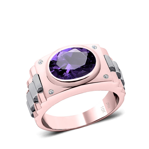 Modern Engagement Ring with Gemstone 10k Solid Gold Male Band with Diamonds and 4.50ct Oval Amethyst