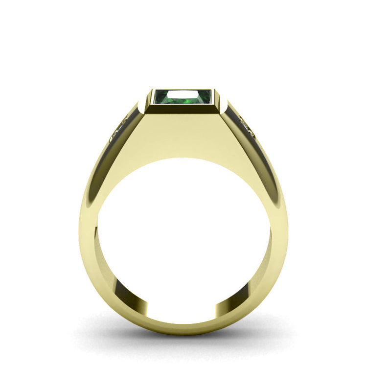Bezel Set Emerald Male Ring Pure 10K Yellow Gold with 0.06ct Diamonds Anniversary Gift for Man
