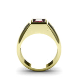 Men's Diamond Jewelry 2.40ctw Red Ruby Gemstone In Yellow Gold-Plated Solid Silver
