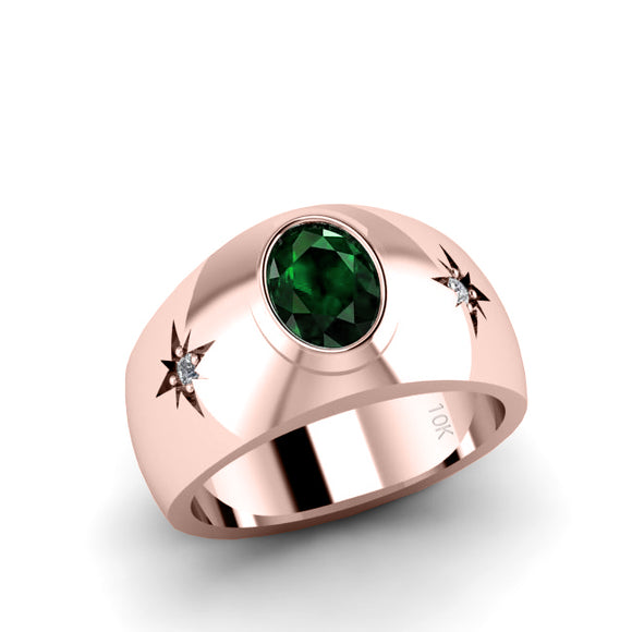 Emerald Male Ring in 10k Rose Gold with 0.06ct Natural Diamonds Men's Engagement Jewelry
