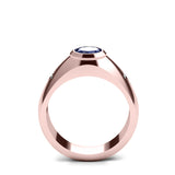 2.40ct Sapphire Solitaire Ring with Diamonds Men's Cobalt Blue Gemstone Band 18k Rose Gold