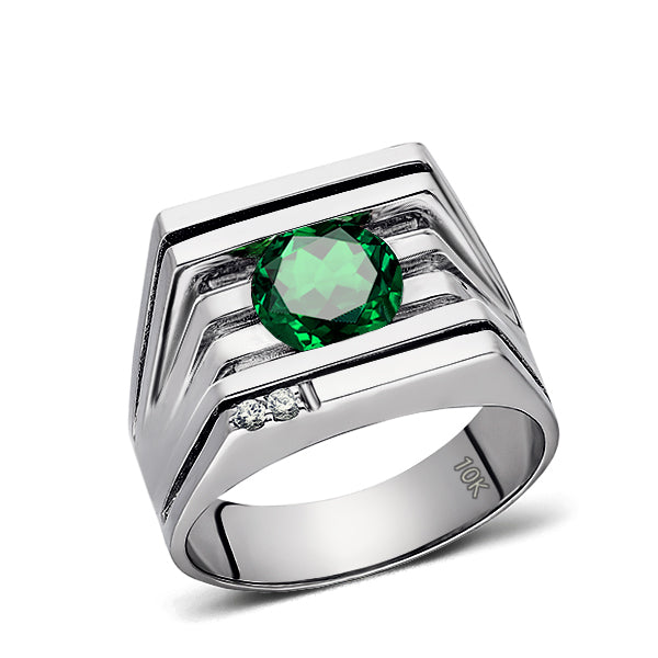 Solid 10K White GOLD Mens Ring REAL with Emerald and 2 DIAMOND Accents